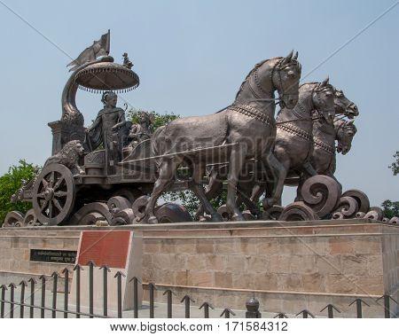 KURUKSHETRA, INDIA. May 31, 2009: The statue of Krishna and Arjuna on the chariot. Kurukshetra, Haryana, India.
