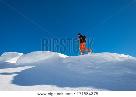 A Man Alpine Skier Climb On Skis And Sealskins In Alpine Ridge