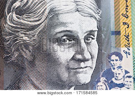 Portrait Of Edith Cowan - Australian 50 Dollar Bill Closeup.