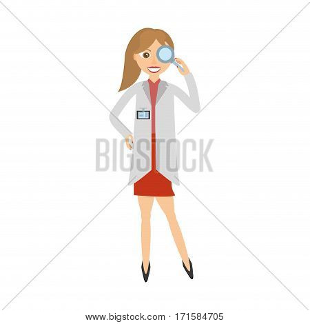female doctor coat and loupe vector illustration eps 10
