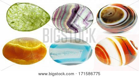 quartz agate semigem geological crystals set isolated collage