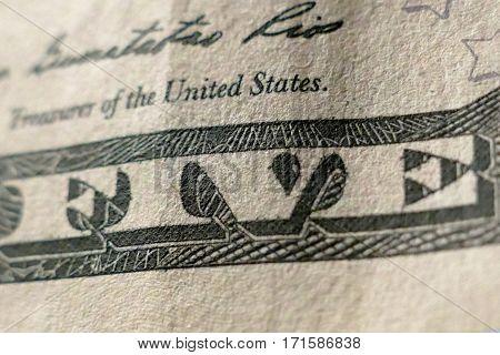 Part Of Five Dollar Bill Macro Shot