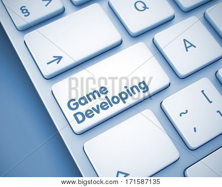 Computer Keyboard Button Showing the Inscription Game Developing. Message on Keyboard Button. Game Developing Button on the Modern Computer Keyboard. 3D.