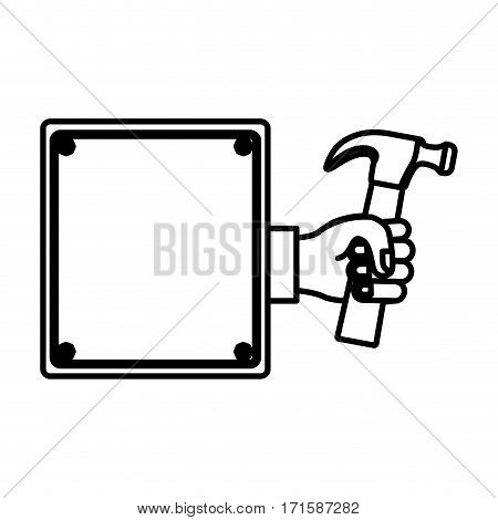 hammer in the hand icon stock, vector illustration image