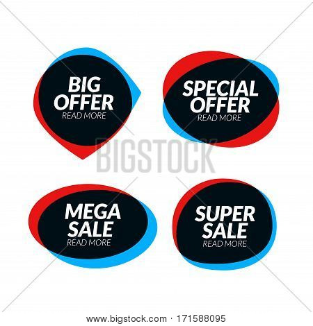 Sale banner speech bubble design element. Vector app icon, corporate identity, card, labels or posters. Marketing sale business discount label.