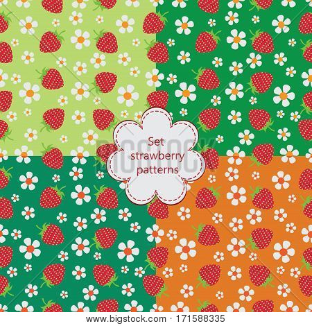 Bright strawberry assorted. Set strawberry patterns. Natural product. Seamless patterns. The farmers market, chefs, cooks.