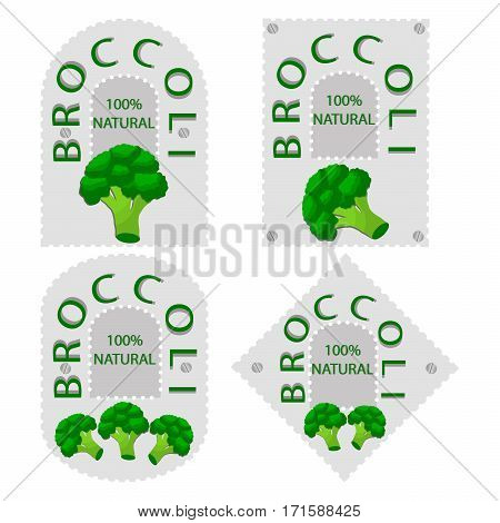 Vector illustration logo for whole ripe vegetables broccoli with green stem