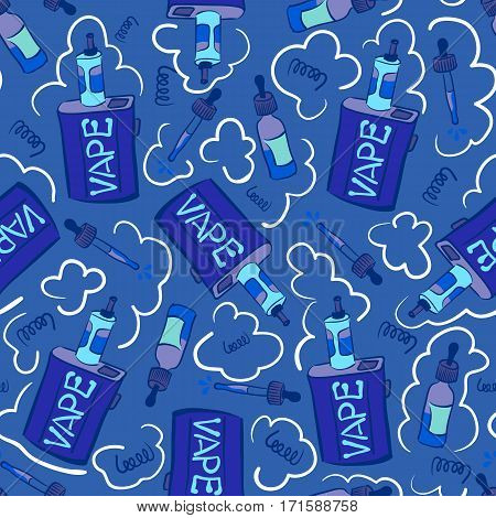 Blue seamless pattern with electronic cigarettes and liquids. Vaping box-mods, juices, coils and clouds.