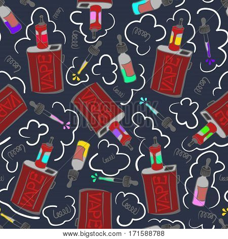 Dark seamless pattern with electronic cigarettes and liquids. Vaping box-mods, juices, coils and clouds.