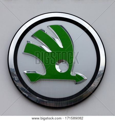 Rome, Italy - February 16, 2017: Skoda emblem at one of Skoda's auto dealerships, Skoda became a wholly owned subsidiary of the Volkswagen Group in 2000