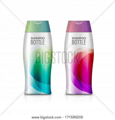 Shampoo plastic bottle or shower gel bottle template design. Vector blank mock up. Cream or lotion bath care.