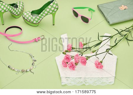 Fashion girl Clothes Set, Accessories, Summer Outfit. Trendy Design sunglasses, fashion top, Luxury Handbag clutch. Glamor shoes heels, spring flower. Summer lady Essentials. Creative Urban.