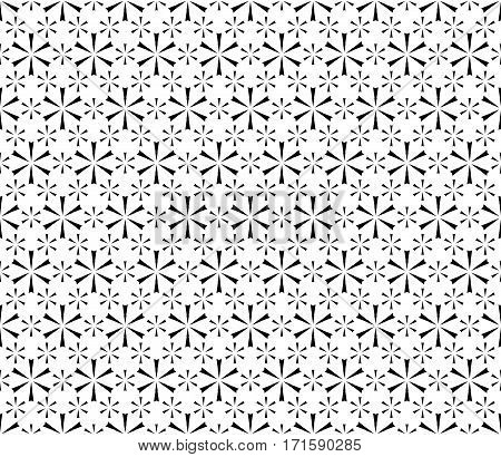 Vector seamless pattern. Modern subtle black & white texture. Simple geometric floral figures, small snowflakes. Endless repeat minimalist abstract monochrome background. Design for decoration, prints, textile, fabric, wrapping, digital, web