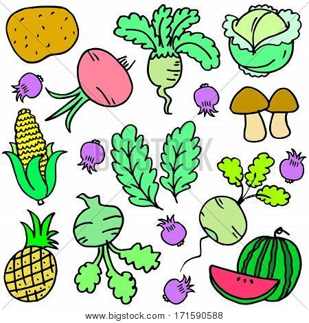 Vector vegetable set of doodles collection stock