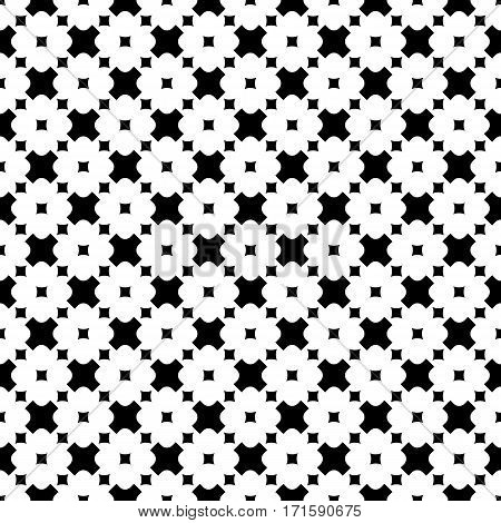 Vector monochrome seamless pattern. Stylish modern geometric texture. Simple black & white rounded figures, crosses & squares. Abstract minimalist background. Design element for prints, decoration, textile, fabric, cloth, furniture, digital, web