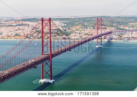 25th of April Bridge in Lisbon. Panoramic view of Lisbon, the Tagus River and Bridge from the National Sanctuary of Christ the King
