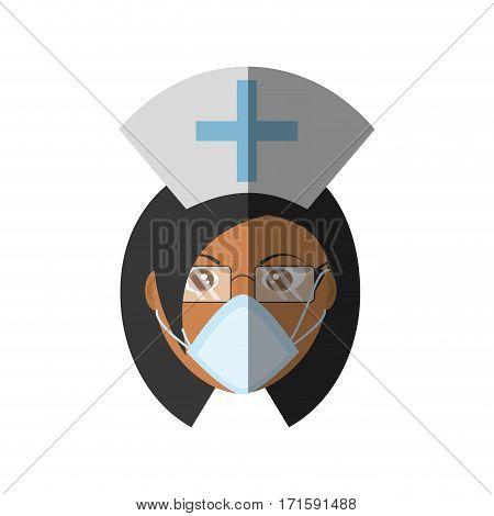 doctor female mask medical staff hat cross vector illustration eps 10