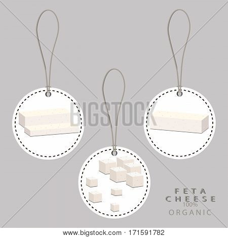 Vector illustration logo for whole white cottage cheese Feta