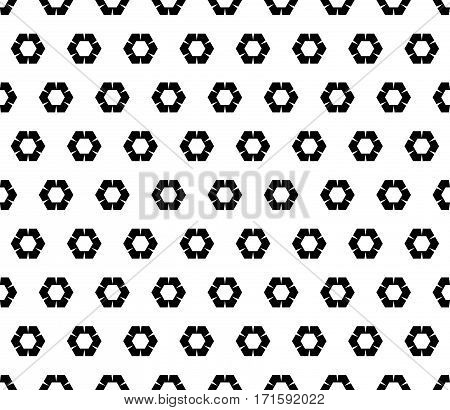 Vector seamless pattern, abstract monochrome background with simple geometric figures, rippled hexagons. Black & white geometric texture. Design element for printing, embossing, textile, fabric, cloth, digital, web