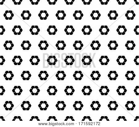 Vector seamless pattern, abstract monochrome background with simple geometric figures, rippled hexagons. Black & white geometric texture. Design element for printing, embossing, textile, fabric, furniture, digital, web