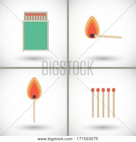 Match sticks and box set. Flat design of matchsticks and matchbox with round shadow. Vector illustration