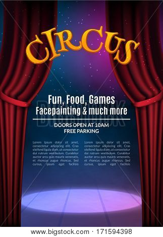 Circus show poster template with sign. Festive Circus invitation. Vector carnival show background illustration.