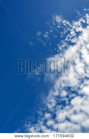 Texture of blue sky and Cirrus clouds. Heavenly background on high top designs. Free space atmospheric flight and freedom.