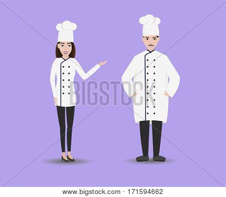 Smiling restaurant chef kook with assistants. Isolated man and woman chefs in white uniform. Flat style.