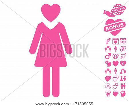 Mistress icon with bonus love pictograph collection. Vector illustration style is flat iconic pink symbols on white background.