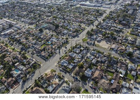 Aerial view of east San Fernando Valley neighborhood in Los Angeles, California.