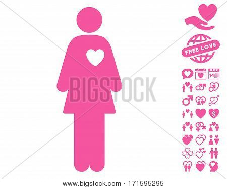 Mistress icon with bonus decorative pictures. Vector illustration style is flat iconic pink symbols on white background.