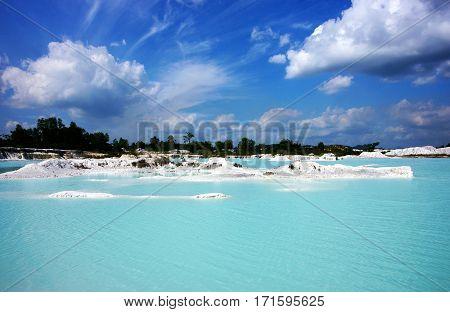 Clear blue Kaolin Lake, Belitung Island in Air Raya Village
