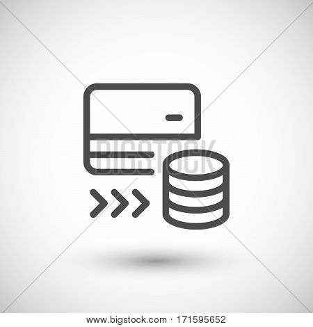 Payment card line icon isolated on grey. Vector illustration