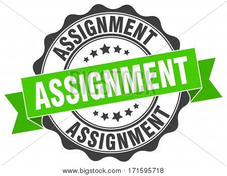 assignment. stamp. sign. seal. round. retro. ribbon