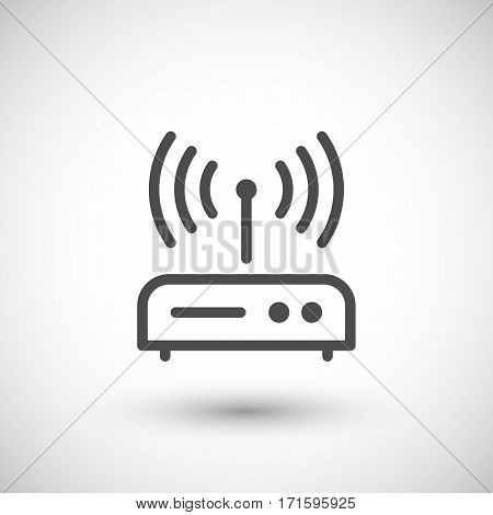 Router line icon isolated on grey. Vector illustration