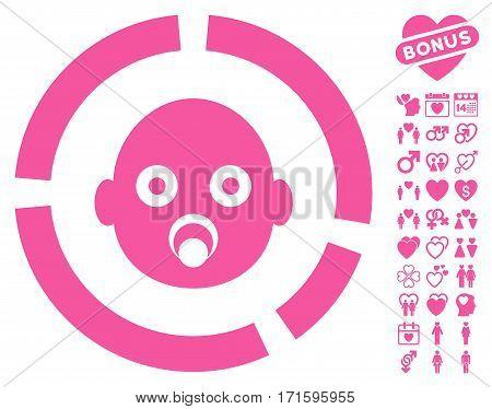 Newborn Diagram pictograph with bonus valentine design elements. Vector illustration style is flat iconic pink symbols on white background.