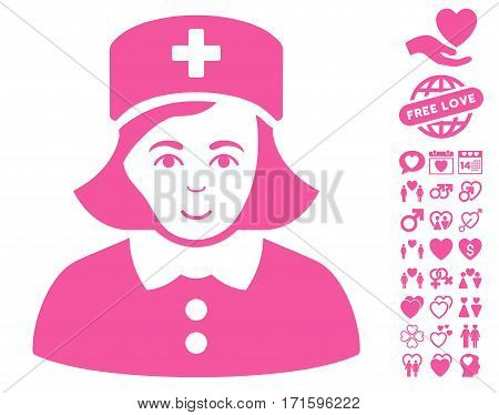 Nurse pictograph with bonus dating pictograph collection. Vector illustration style is flat iconic pink symbols on white background.