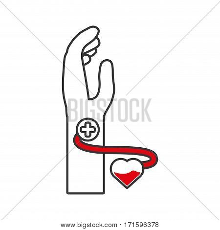 hand male blood donor heart vector illustration eps 10