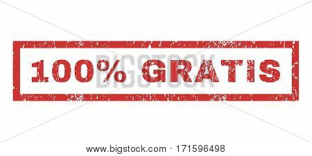 100 Percent Gratis text rubber seal stamp watermark. Caption inside rectangular banner with grunge design and dirty texture. Horizontal vector red ink sign on a white background.