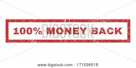 100 Percent Money Back text rubber seal stamp watermark. Caption inside rectangular shape with grunge design and unclean texture. Horizontal vector red ink sign on a white background.