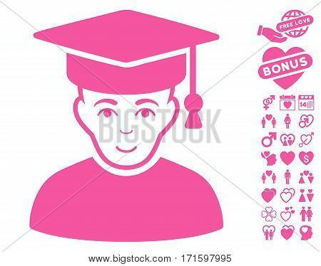 Professor pictograph with bonus valentine pictures. Vector illustration style is flat iconic pink symbols on white background.