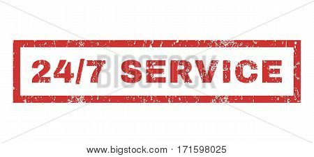 24-7 Service text rubber seal stamp watermark. Caption inside rectangular banner with grunge design and scratched texture. Horizontal vector red ink sign on a white background.