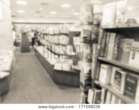 Vintage style blur image of a bookstore .