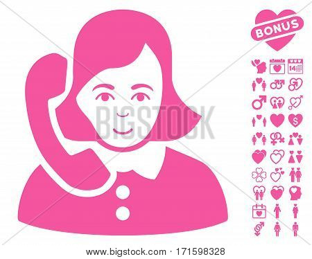 Receptionist icon with bonus marriage pictograph collection. Vector illustration style is flat iconic pink symbols on white background.