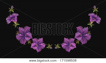 Embroidery crewel floral petunia neckline decoration. Vector illustration. Purple violet color flower necklace ornament vintage design