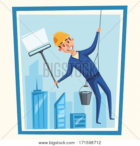 Profesional worker cleaning windows. Cartoon vector illustration. Skyscraper cleaning service. Window washer is cleaning high building. Man with bucket of water and scraper.