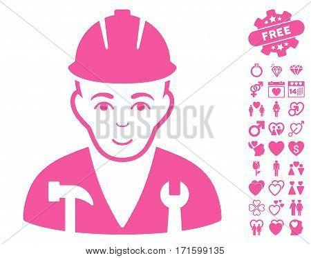 Serviceman icon with bonus love icon set. Vector illustration style is flat iconic pink symbols on white background.