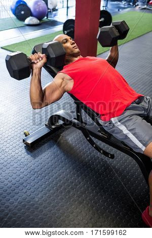 High angle view of man exercising with dumbbells on weight bench in gym