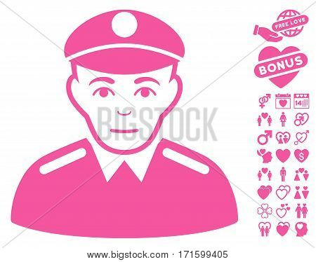 Soldier icon with bonus amour graphic icons. Vector illustration style is flat iconic pink symbols on white background.