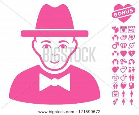 Spy pictograph with bonus marriage pictures. Vector illustration style is flat iconic pink symbols on white background.